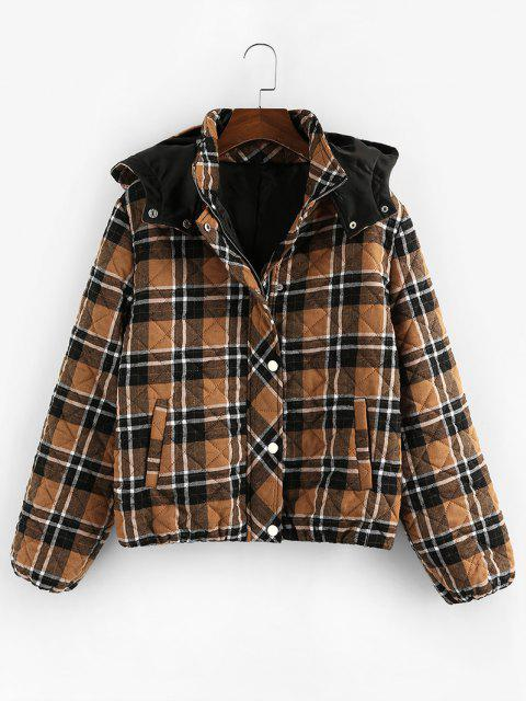 fashion ZAFUL Quilted Plaid Hooded Pocket Coat - COFFEE S Mobile