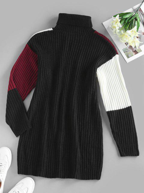 ZAFUL Vestido Ajustado con Cuello de Tortuga y Bloqueo de Color - Negro L Mobile