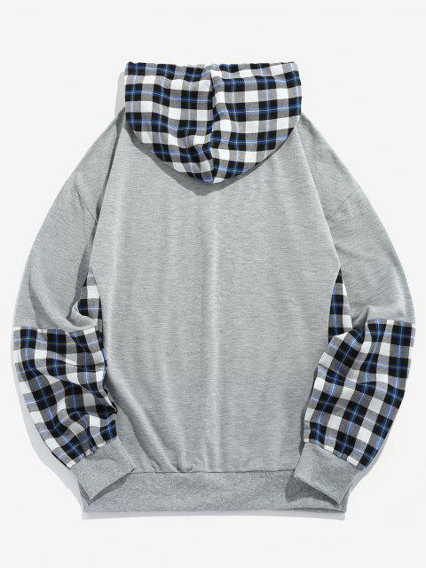 latest ZAFUL Plaid Letters Print Faux Twinset Hoodie - LIGHT GRAY 2XL Mobile