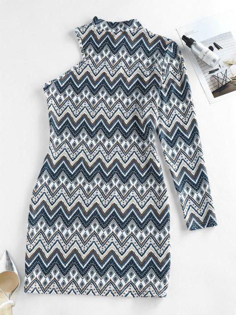 fashion ZAFUL Zig Zag Geo One Sleeve Mock Neck Bodycon Dress - MULTI M Mobile