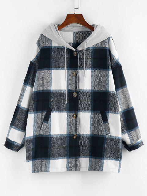 ZAFUL Plaid Hooded Drop Shoulder Oversized Coat - أزرق XL Mobile