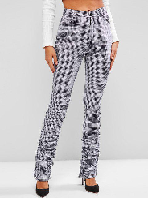 buy Gathered Side Houndstooth Stacked Pants - BLACK S Mobile