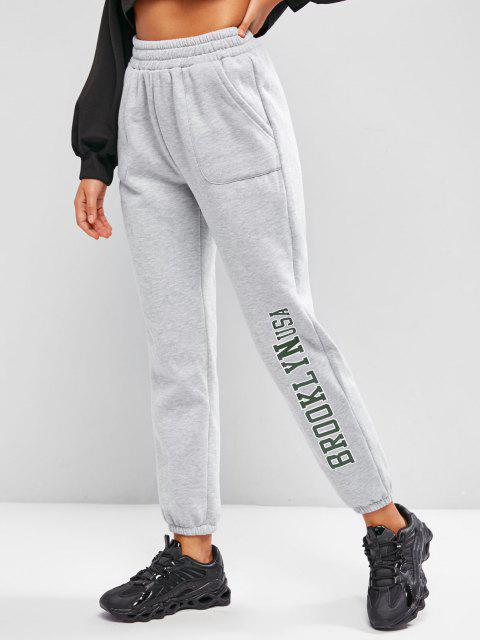 ladies Pockets Graphic Fleece Lined Jogger Pants - LIGHT GRAY S Mobile