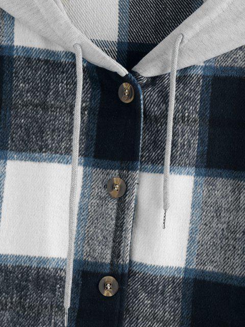 ZAFUL Manteau à Capuche Surdimensionné à Carreaux à Goutte Epaule - Bleu L Mobile