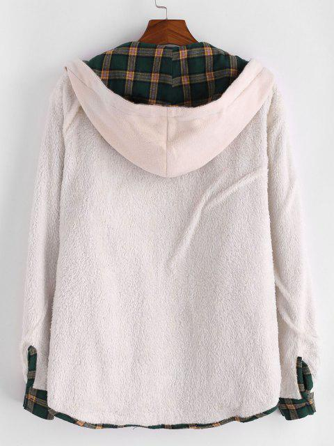 new Plaid Faux Fur Fluffy Hooded Shirt Jacket - DEEP GREEN S Mobile