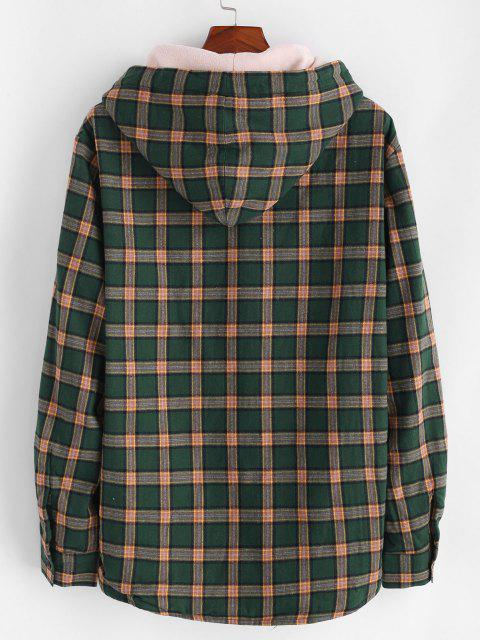 outfit Plaid Faux Fur Fluffy Hooded Shirt Jacket - DEEP GREEN M Mobile