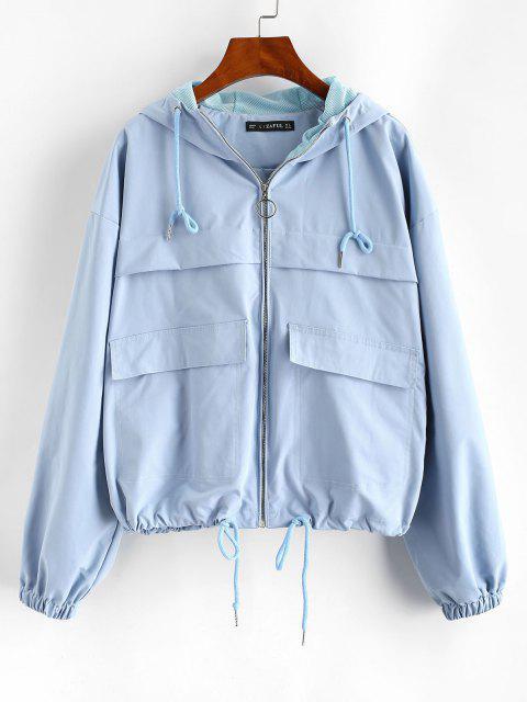 ZAFUL Hooded Full Zip Windbreaker Cargo Jacket - أزرق فاتح S Mobile