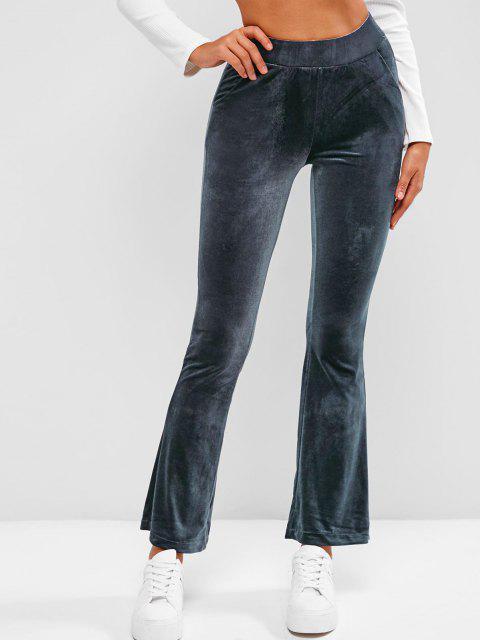 fancy Pockets Velvet Flare High Waisted Pants - DEEP BLUE S Mobile