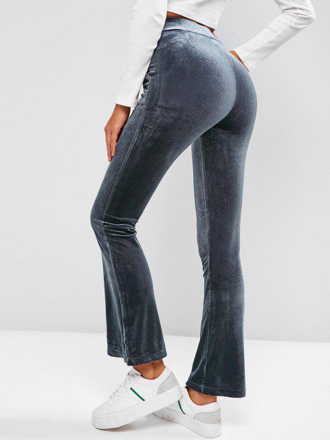 chic Pockets Velvet Flare High Waisted Pants - DEEP BLUE M Mobile