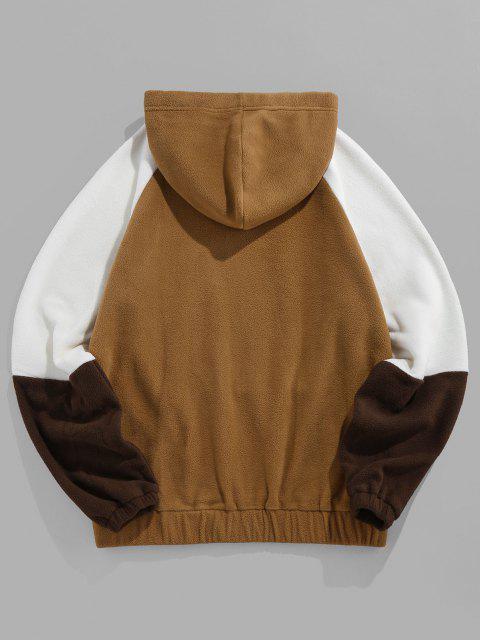 outfit ZAFUL Raglan Sleeve Contrast Polar Fleece Hoodie - COFFEE L Mobile