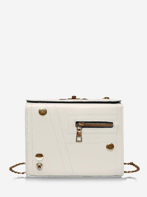 ladies Rectangle Chain Crossbody Bag - WARM WHITE  Mobile