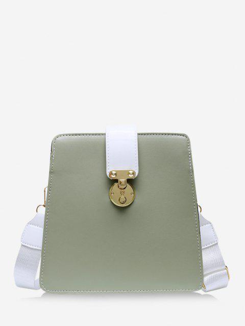 Colorblock Square Crossbody Bag - التمويه الأخضر  Mobile