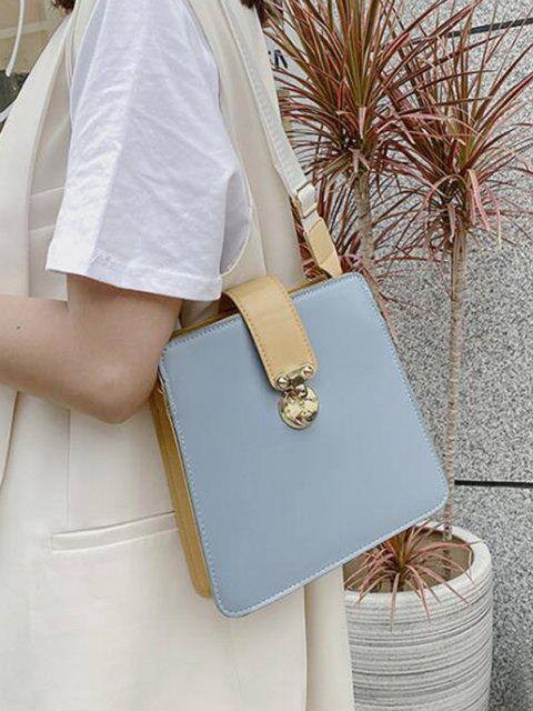hot Colorblock Square Crossbody Bag - BLUE GRAY  Mobile