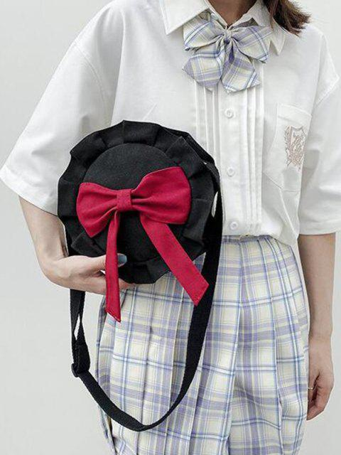 outfits Bowknot Round Ruffle Canvas Crossbody Bag - BURNT PINK  Mobile