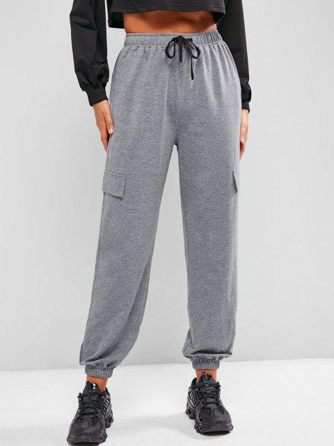lady ZAFUL Flap Detail Drawstring Cargo Joggers - CLOUDY GRAY S Mobile