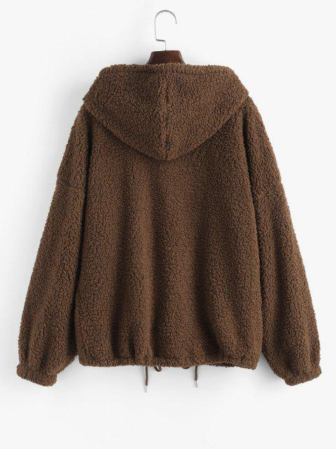 best ZAFUL Drop Shoulder Drawstring Teddy Coat - COFFEE M Mobile