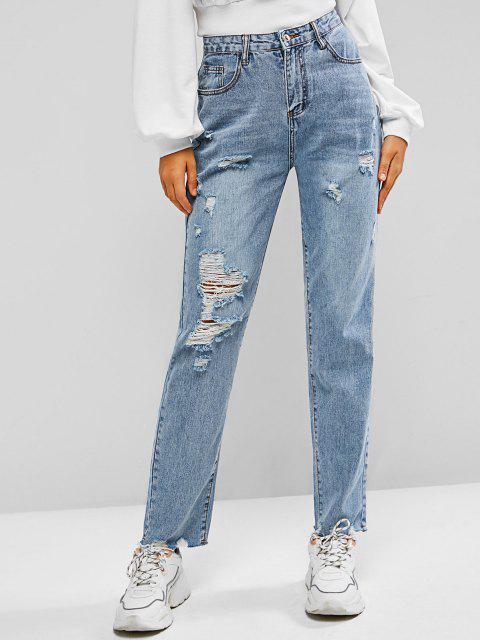 Jeans Rasgado y Cremallera - Azul claro S Mobile