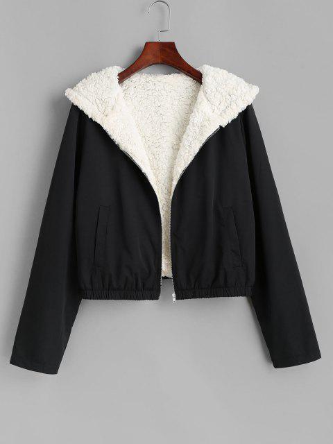 sale ZAFUL Teddy Lined Hooded Coat - BLACK M Mobile