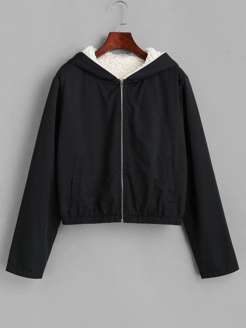 buy ZAFUL Teddy Lined Hooded Coat - BLACK L Mobile