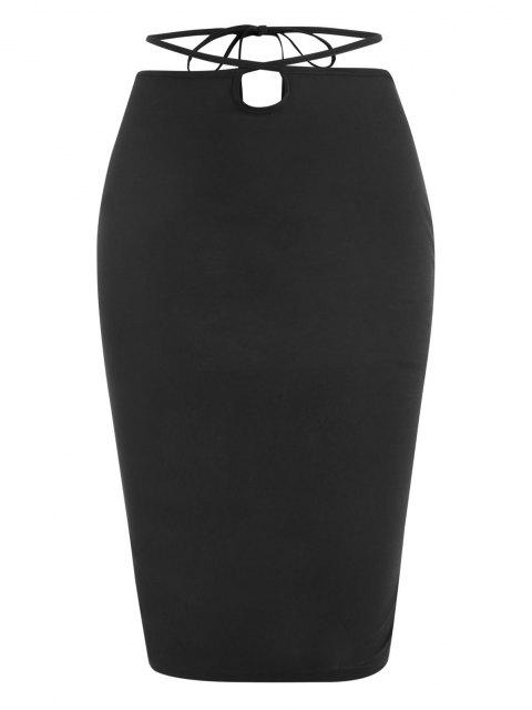 new ZAFUL Straps Wrap Bodycon Knee Length Skirt - BLACK S Mobile