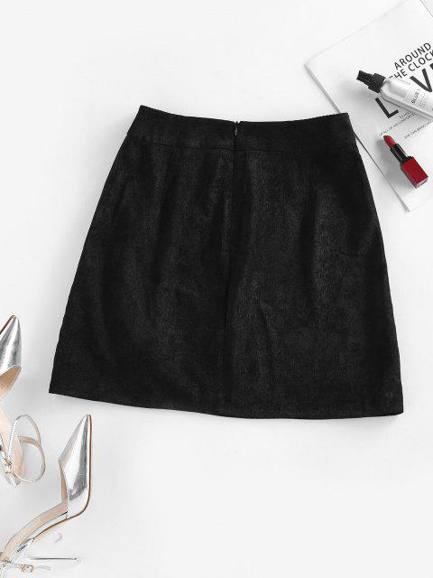 ZAFUL Corduroy Mock Button Chain Embellished Skirt - أسود S Mobile