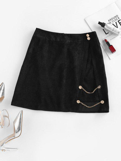 shop ZAFUL Corduroy Mock Button Chain Embellished Skirt - BLACK S Mobile