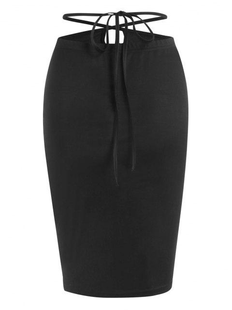 ZAFUL Straps Wrap Bodycon Knee Length Skirt - أسود M Mobile