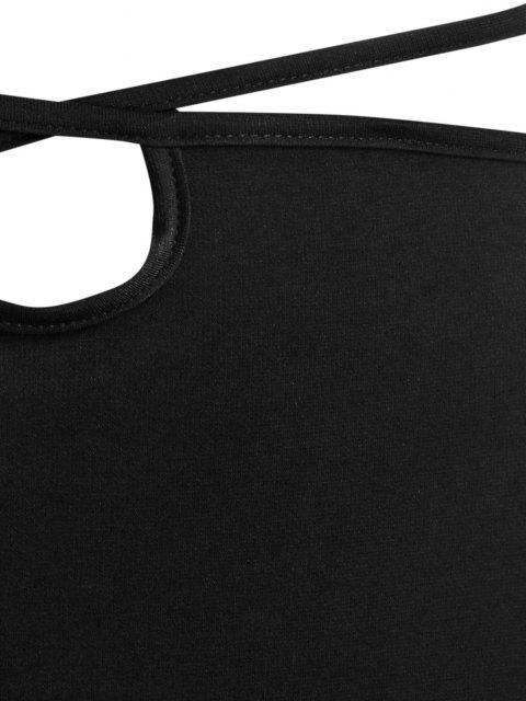 fancy ZAFUL Straps Wrap Bodycon Knee Length Skirt - BLACK M Mobile