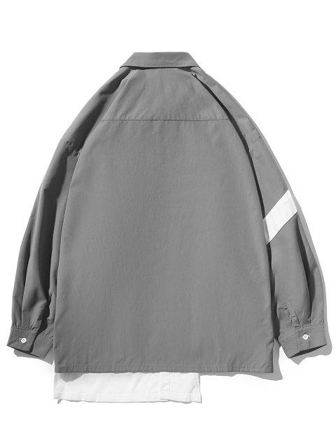 sale Irregular Colorblock Patchwork Button Up Shirt - BATTLESHIP GRAY 2XL Mobile