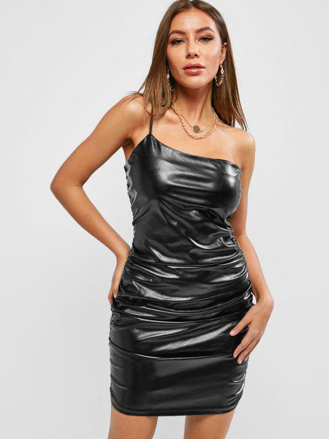 women's ZAFUL Faux Leather One Shoulder Night Out Dress - BLACK M Mobile