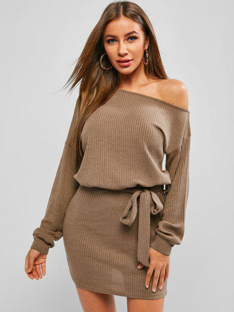 fancy Long Sleeve Ribbed Belted Mini Dress - COFFEE L Mobile
