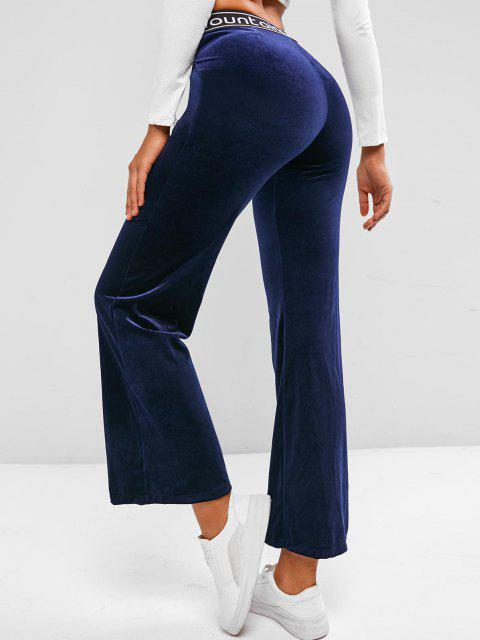fancy Criss Cross Waist Velvet Graphic Flare Pants - DEEP BLUE L Mobile