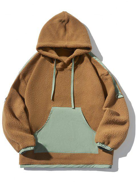 Contrast Kangaroo Pocket Fleece Hoodie - Dark Goldenrod XL Mobile