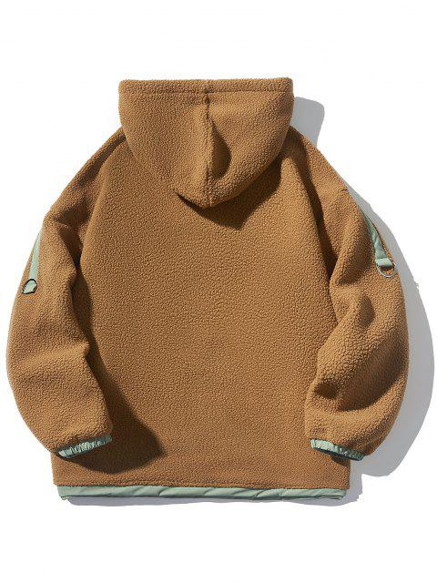 affordable Contrast Kangaroo Pocket Fleece Hoodie - DARK GOLDENROD 2XL Mobile