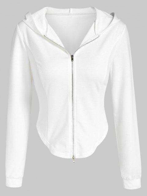 affordable ZAFUL Irregular Cropped Zip Up Hoodie - WHITE M Mobile