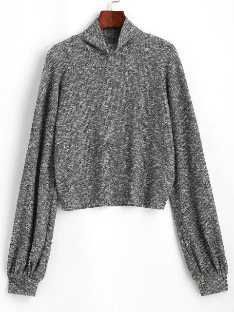 ZAFUL Heathered High Neck Knitwear - اللون الرمادي L Mobile