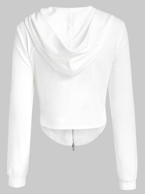 chic ZAFUL Irregular Cropped Zip Up Hoodie - WHITE L Mobile