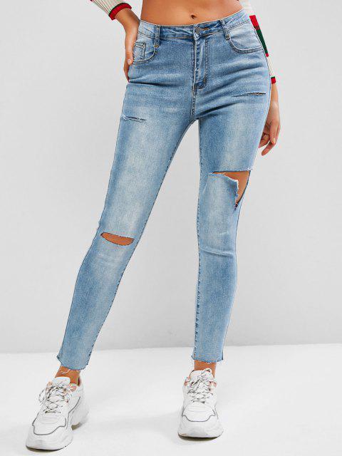 women Distressed High Waisted Frayed Hem Skinny Jeans - BLUE M Mobile