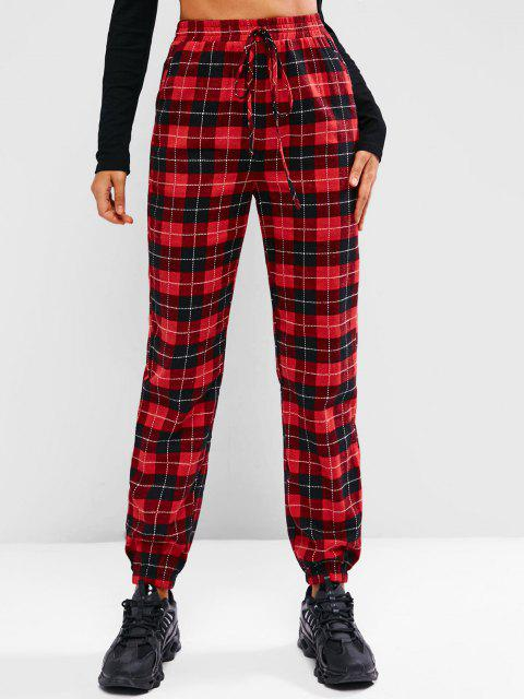 affordable ZAFUL High Waist Plaid Pull On Pants - RED L Mobile