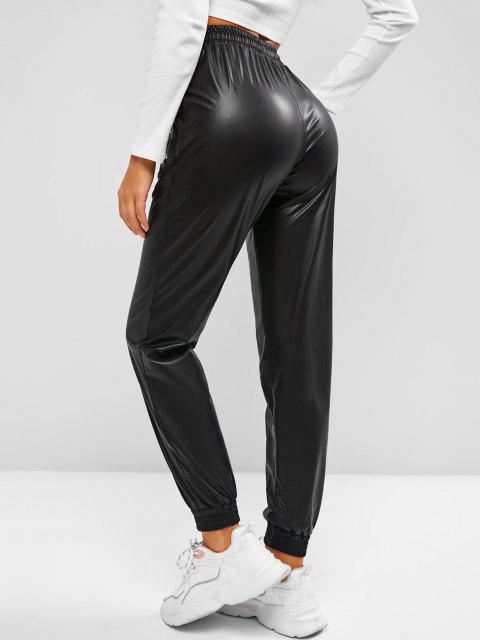 fancy Zippered Pockets Drawstring Faux Leather Pants - BLACK S Mobile