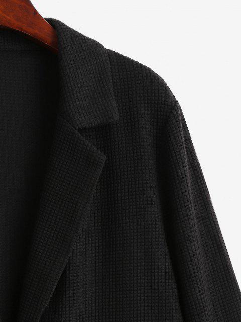 ZAFUL Strukturierter Knit Klappe Tasche Tunika Blazer - Schwarz M Mobile