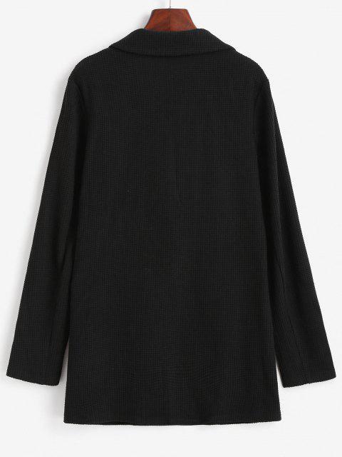 women ZAFUL Textured Knit Flap Pocket Tunic Blazer - BLACK XL Mobile