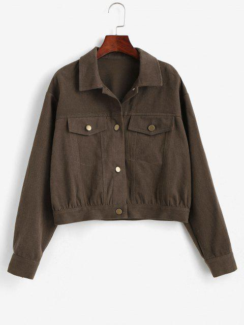 ZAFUL Flap Pockets Button Up Jacket - الظلام الكاكي XL Mobile