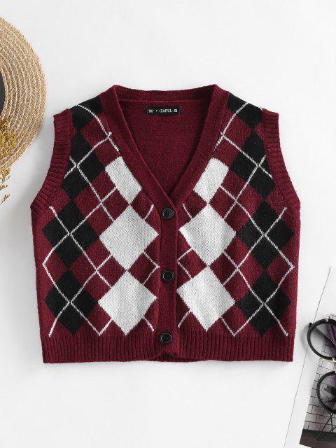 shops ZAFUL Argyle Button Up Sleeveless Cardigan - RED WINE S Mobile