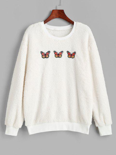 Ribbed Trim Fluffy Butterfly Embroidered Sweatshirt - أبيض M Mobile