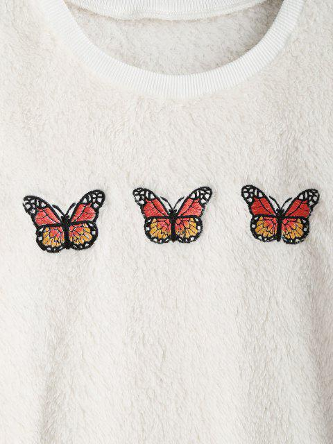shop Ribbed Trim Fluffy Butterfly Embroidered Sweatshirt - WHITE L Mobile