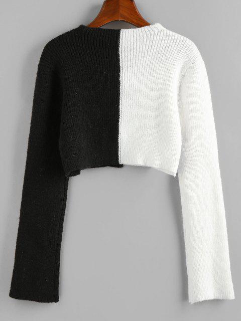 affordable ZAFUL Colorblock V Neck Crop Cardigan - MULTI M Mobile