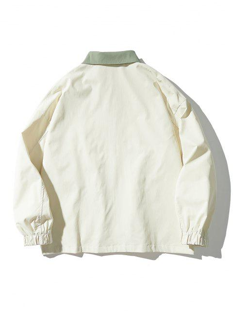 affordable Drop Shoulder Contrast Multi Pockets Jacket - WHITE XL Mobile