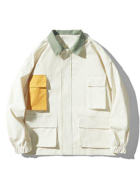 ladies Drop Shoulder Contrast Multi Pockets Jacket - WHITE L Mobile