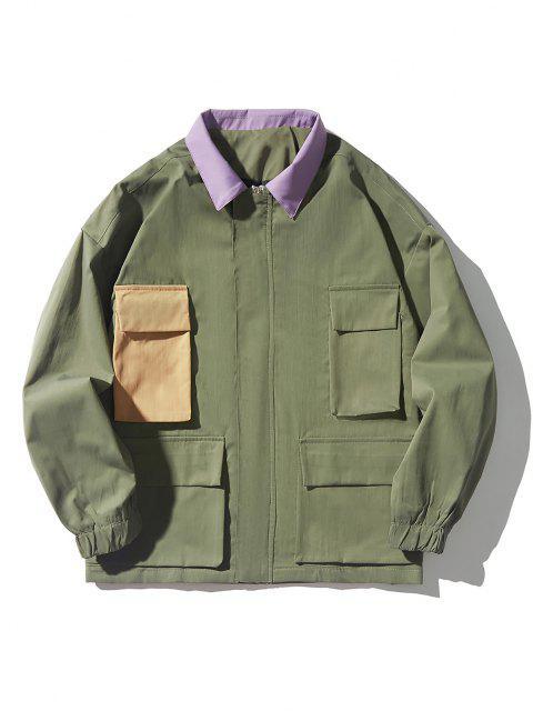 unique Drop Shoulder Contrast Multi Pockets Jacket - ARMY GREEN L Mobile